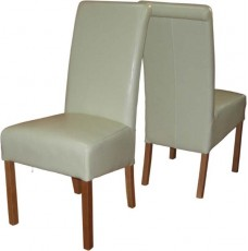 Sophie Cream Leather Rollback Oak Dining Chair