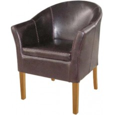 Oslo Oak Brown Leather Tub Chair