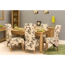 Mobel Oak Upholstered Dining Chair Pair
