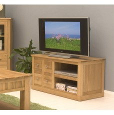 Mobel Oak Four Drawer Television Cabinet