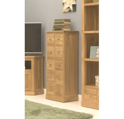 Mobel Oak Multi Drawer DVD / CD Storage Chest