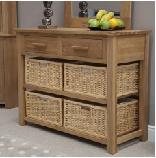 Opus Modern Oak Basket Console Table