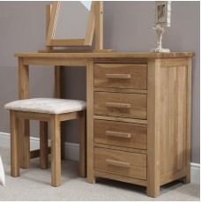 Opus Modern Oak Single Pedestal Dressing Table + Stool