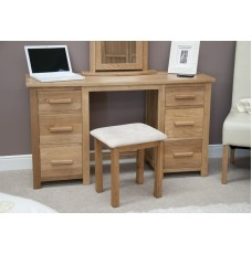 Opus Modern Oak Twin Pedestal Dressing Table + Stool