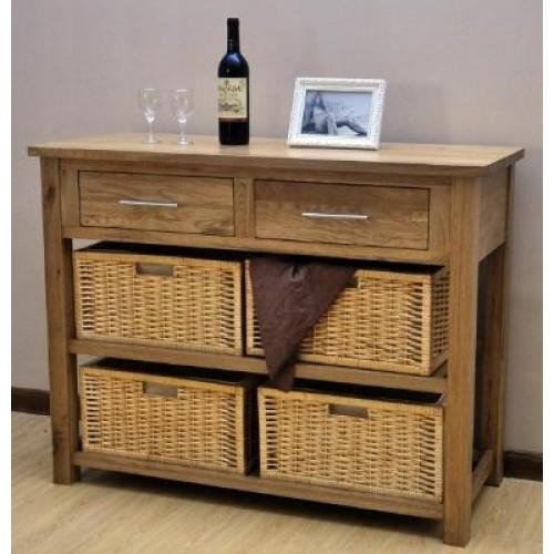 Opus Oak Basket Console Table Oak Dresser With Baskets