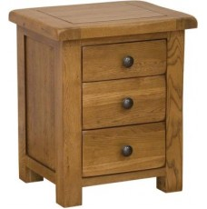 Homestyle Rustic Oak 3 Drawer Bedside Cabinet