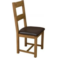 Homestyle Rustic Oak Leather Seat Dining Chair