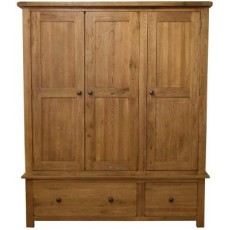 Homestyle Rustic Oak Triple Wardrobe