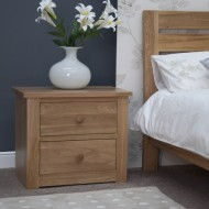 Torino Contemporary Oak 2 Drawer WIDE Bedside Cabinet