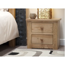 Torino Contemporary Oak 2 Drawer Narrow Bedside