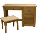 Torino Contemporary Oak Dressing Table + Stool