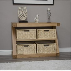 Z Oak Designer Basket Console Table