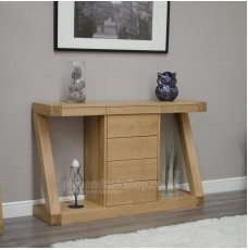 Z Oak Designer Wide Drawer Hall Console Table