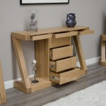 Z Oak Designer Wide Drawer Console