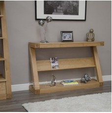 Z Oak Designer Wide Shelf Hall Console Table